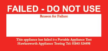PAT test fail label