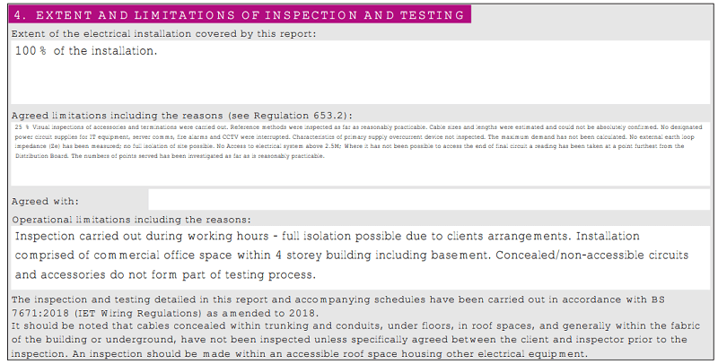 Screemshot of a testing with limitations report